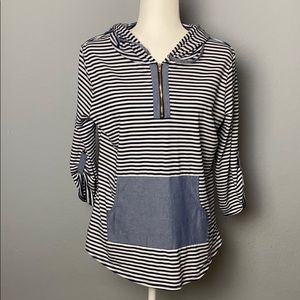 NWOT Siren Lily Blue&White Striped Hoodie Pullover